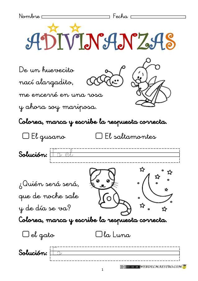 ADIVINANZAS 1 PARA NIÑOS | Possibilities | Pinterest | Niños, Fichas ...