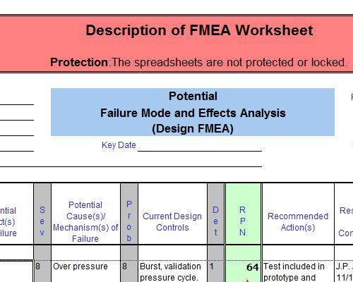 FMEA Product Example excel Pinterest Template - product description template