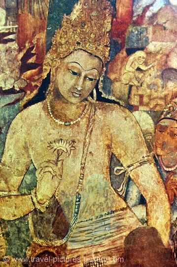At the Ajanta Caves in India, wall paintings illustrate events in the life of prince Gautama (Buddha), the founder of Buddhism.