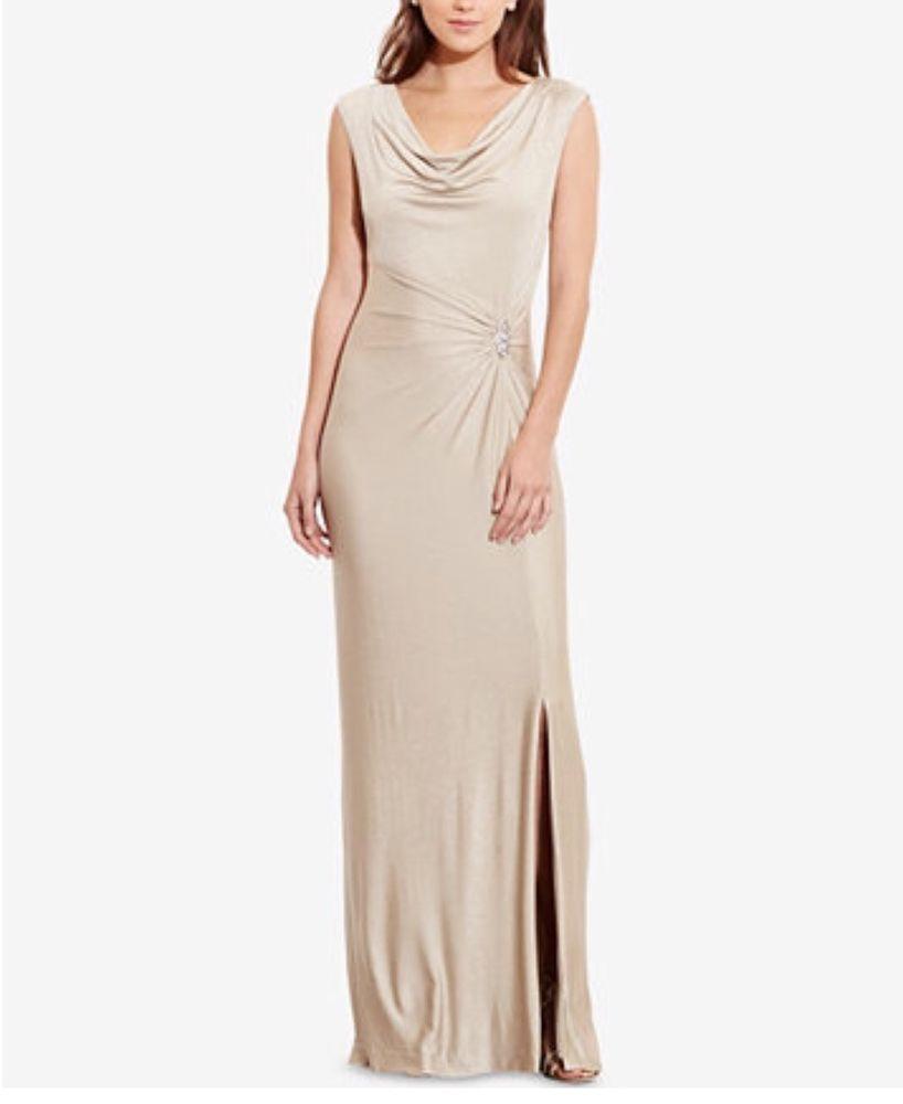 Lauren Ralph Lauren Metallic Brooch Gown Gold Cow Drape Neck Dress | eBay