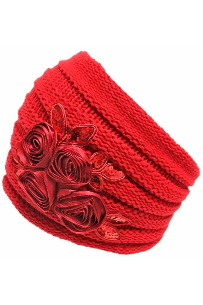Ribbed Knit Headband With Floral Design Products Pinterest