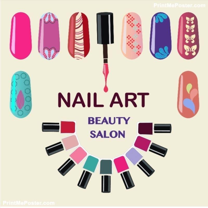 Nails Art Beauty Salon Background poster Nail colors