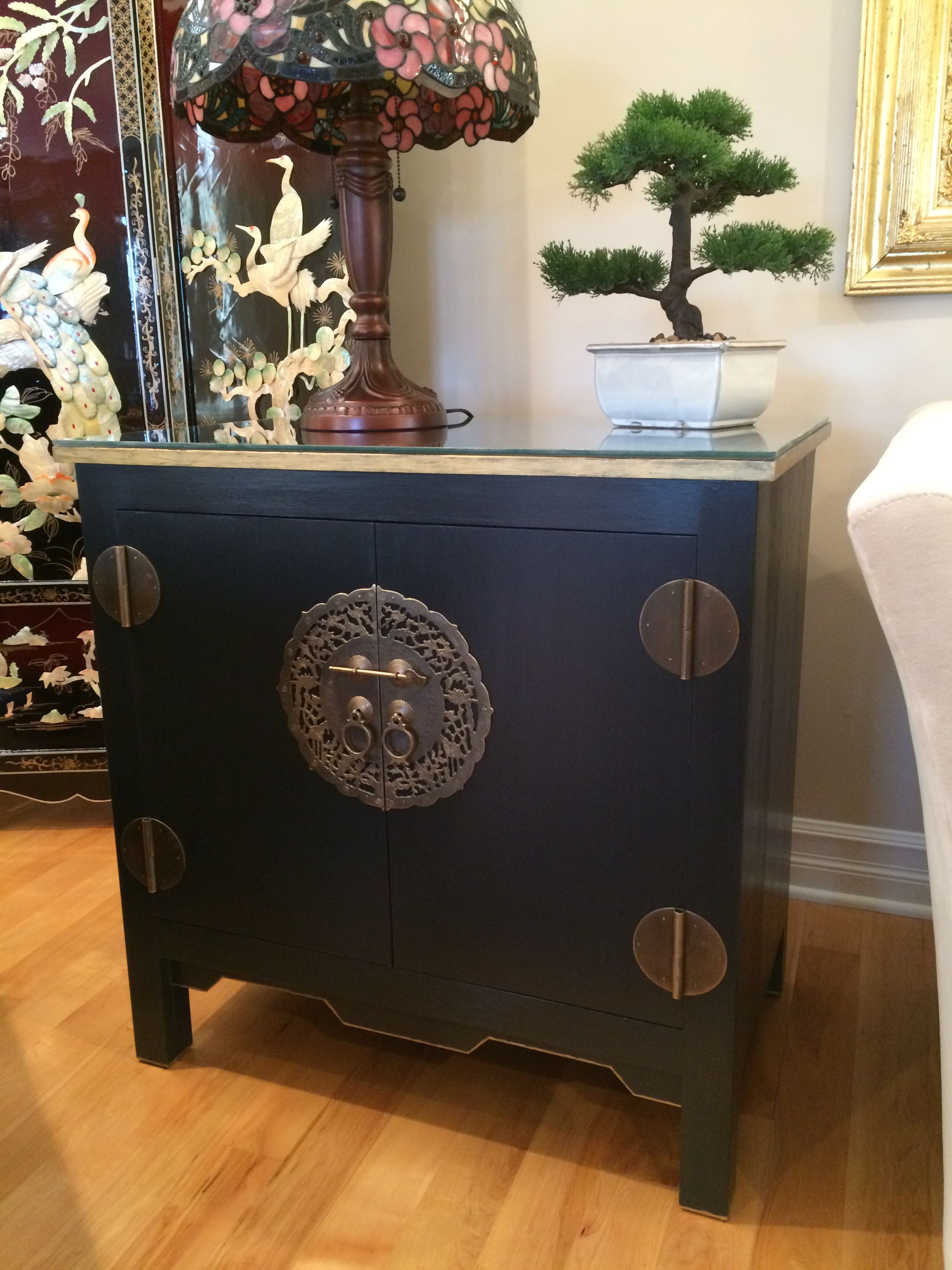 Asian Cabinet,chinese Cabinet,hand Painted,hand Built,black, Asian Hardware