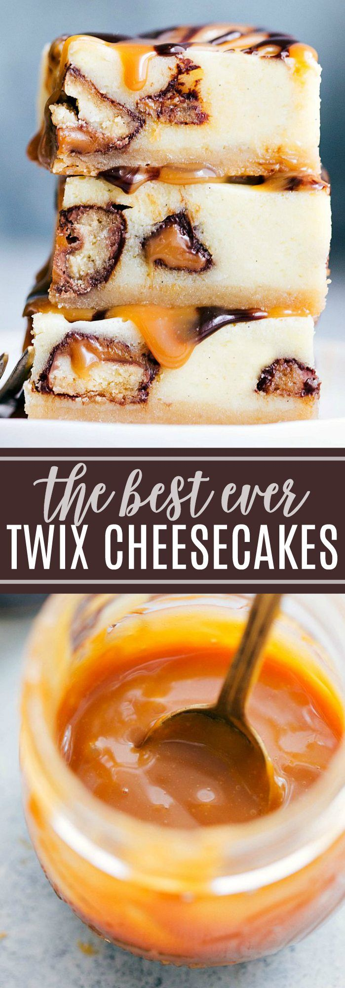 The BEST EVER Twix Cheesecake Bars with an easy (2-ingredient) caramel sauce and chocolate ganache. Everyone goes crazy over this dessert! chelseasmessyapron.com #twix #cheesecake #bars #caramel #chocolate #sauce #ganache #shortbread #crust #easy #dessert #desserts #kidfriendly #cheesecakes