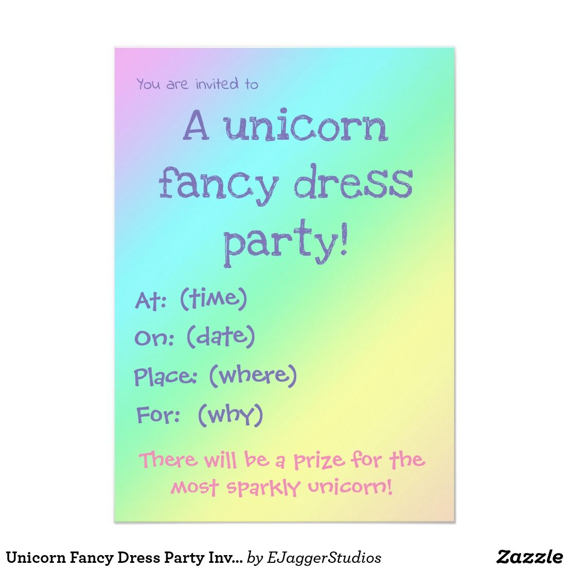 Unicorn Fancy Dress Party Invitation | Unicorn fancy dress, Party ...
