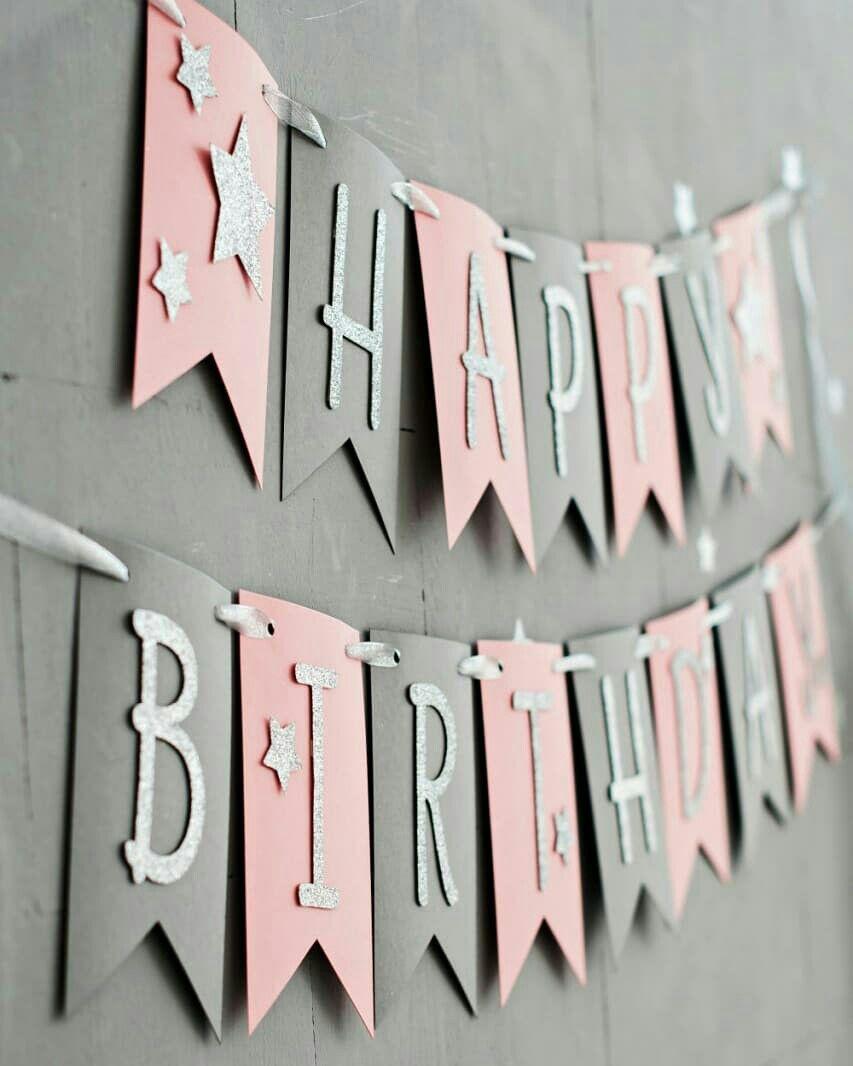 Pink Gray Birthday Banner Birthday Decoration Party Decor Etsy In 2020 Birthday Banner Design Diy Birthday Banner Birthday Decorations