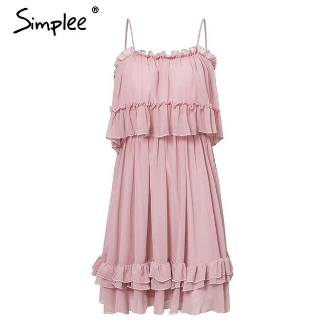 Off shoulder women dress ruffle strap chiffon summer dresses casual holiday blue short vestidos #shortsundress