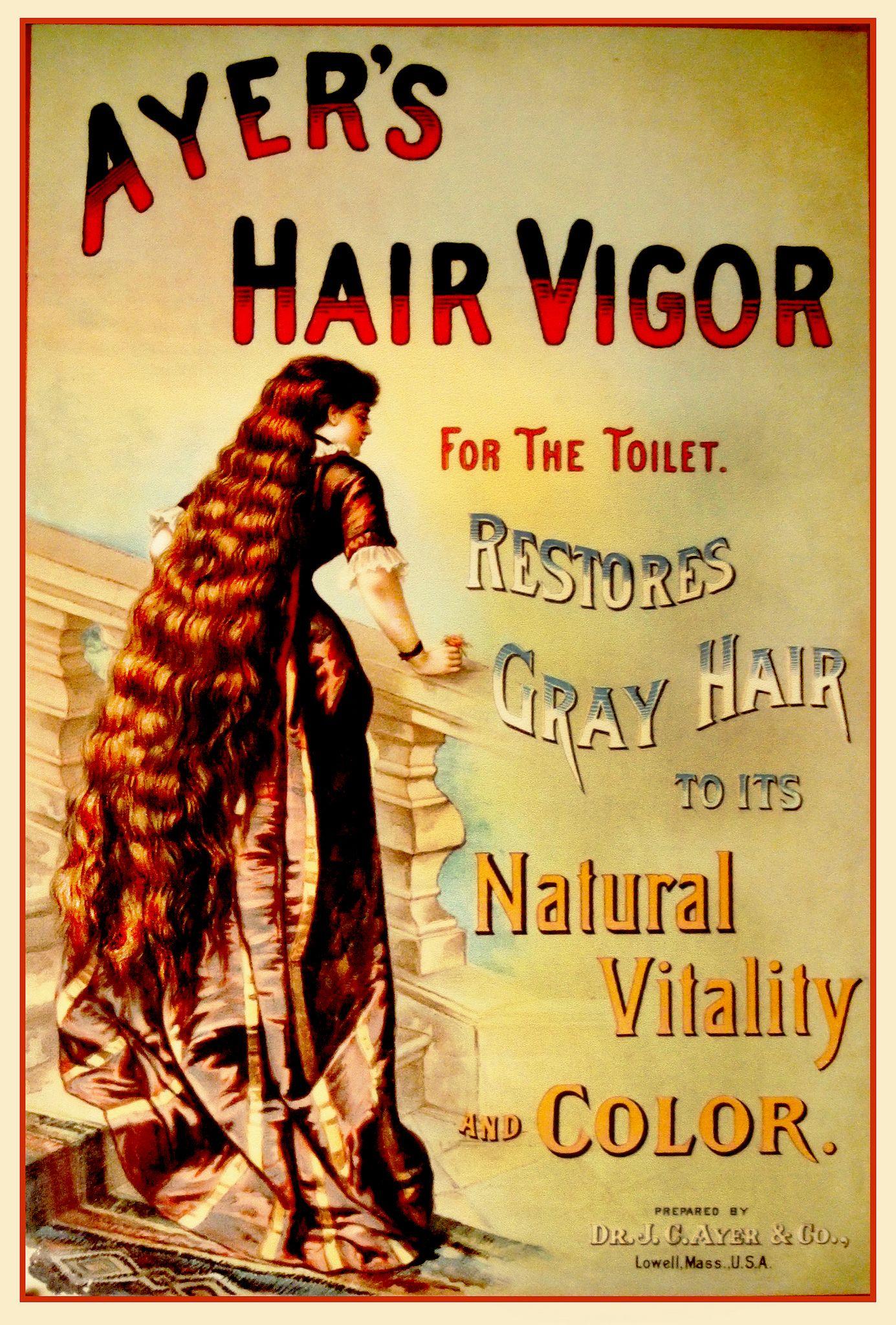 Ayer/'s Hair Vigor 1886 Vintage Style Advertising Poster 24x36