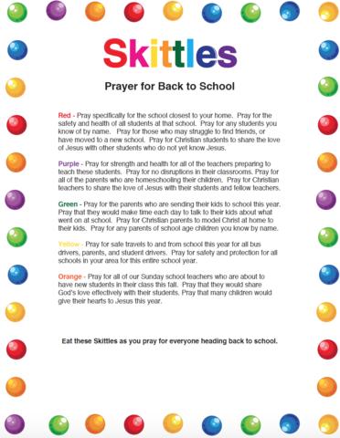 Skittles Back To School Prayer | VBS | School prayer, Back