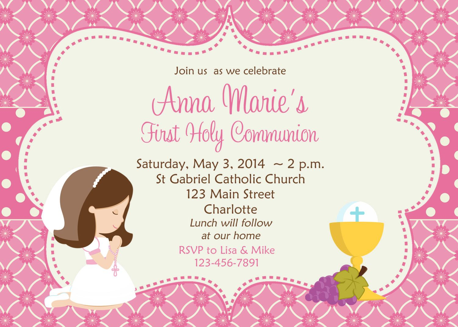 First Holy Communion Invitation Cards Free