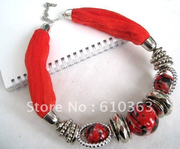 Wholesale 2012 new style beaded necklace scarf,6pcs/lot ,direct factory supply mixed order.Free shipping-in Scarves from Apparel & Accessories on Aliexpress.com