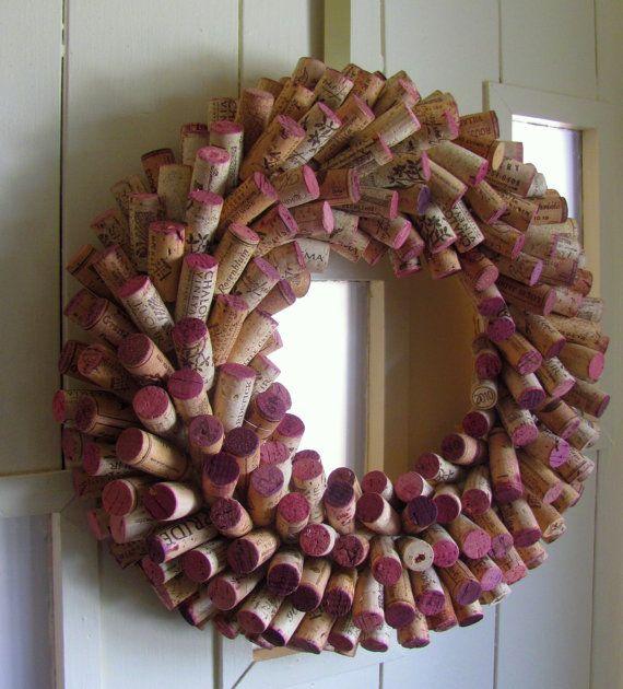 Wine Cork Wreath - Wine Lovers Gift - Sommelier Holiday Decoration Year Around Wreath