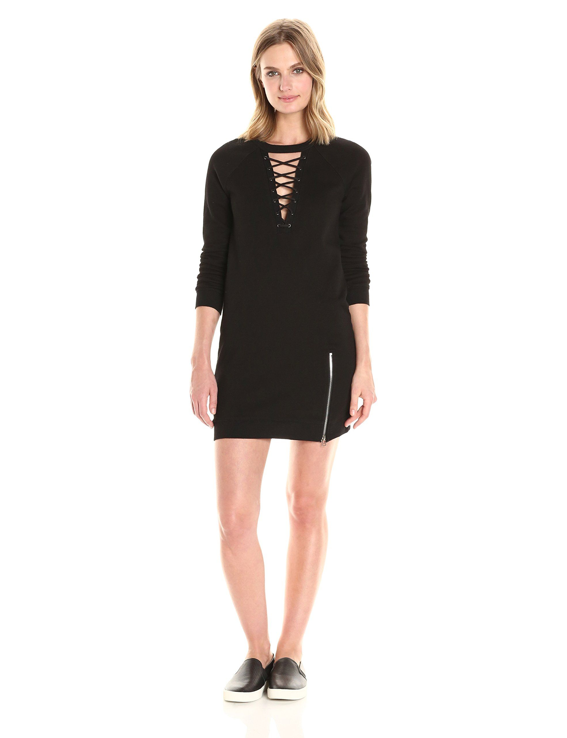 Pam u gela womenus choker lace up dress black m zipper detail at