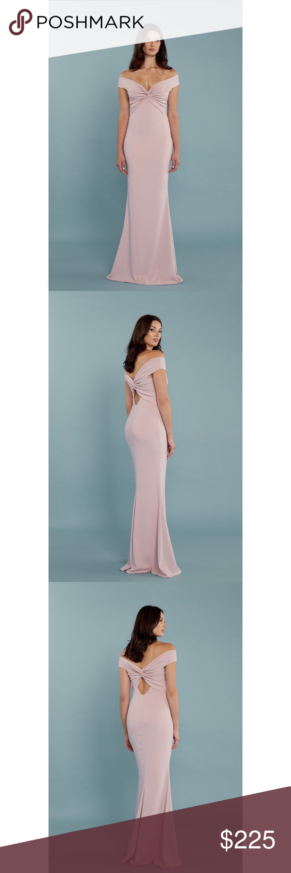 37f68d8baee Katie May Liu Bridesmaid Gown in Dusty Rose Knotted off-shoulder fitted gown  with cut-out back detail. This style is exclusive to Bella Bridesmaids.
