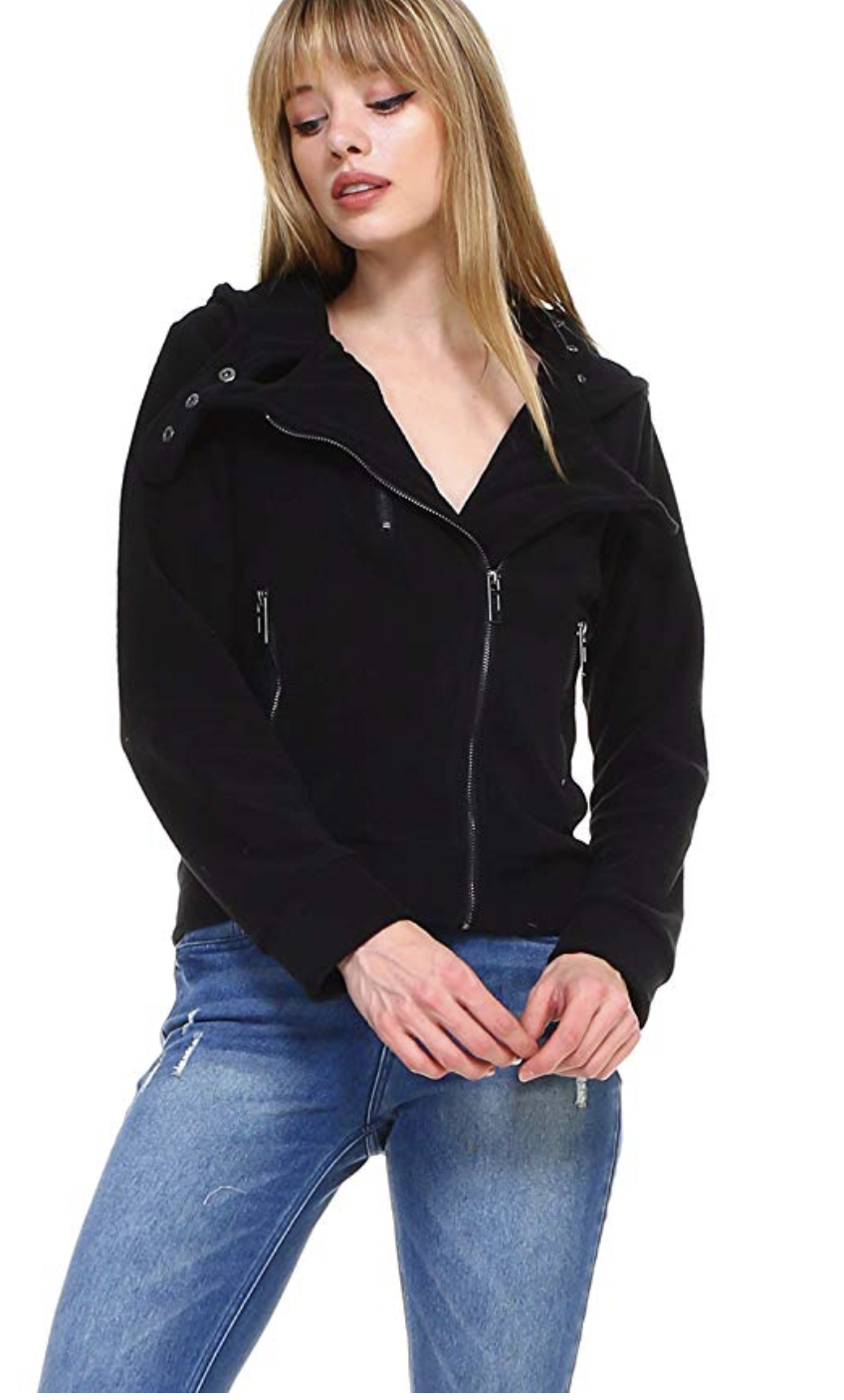 Women's slim fit fleece zipup asymmetrical fashion hoodie