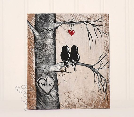 rustic gift for him or her wood sign wood love bird painting wood, Hause ideen