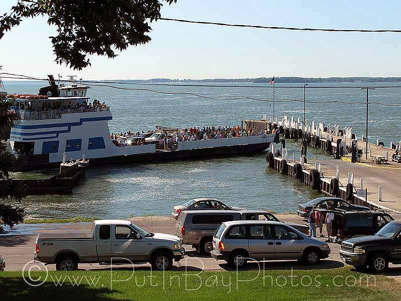 """The Put-in-Bay ferry > Miller Boat Line.  The ferry """"Put-in-Bay"""" approaches the Lime Kiln Dock, Miller Ferry, Put-in-Bay"""