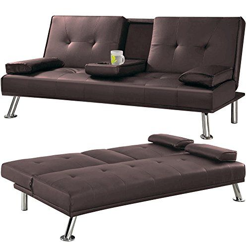Faux Leather Tv Cinema Sofa Bed On Chrome Legs With Https