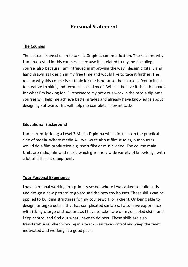 Academic Personal Statement Example Unique Personal