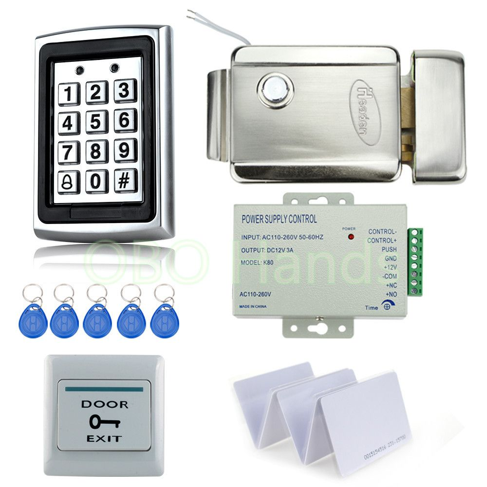 Full Rfid Waterproof Access Control System Kit Set With Metal Keypad Electric Control Lock Power Exit Swi Access Control Access Control System Security Gadgets
