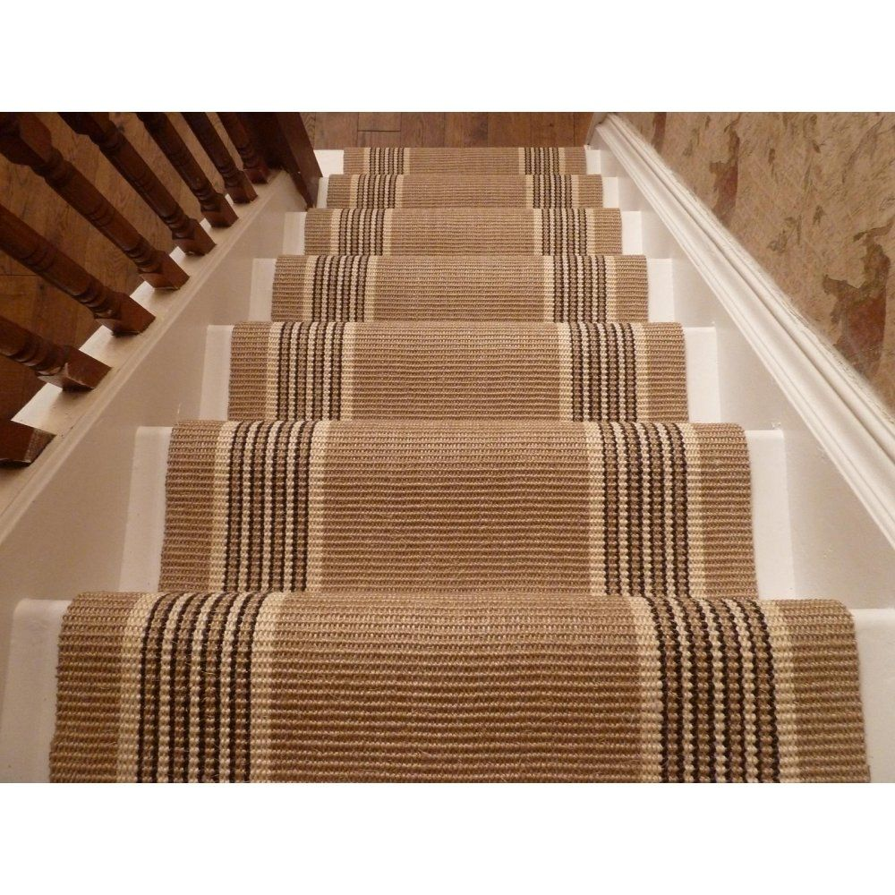 Textured Thread Of Gorgeous Stair Carpet Runners With Edge Sides Stripes  Pattern Installed On White Straight