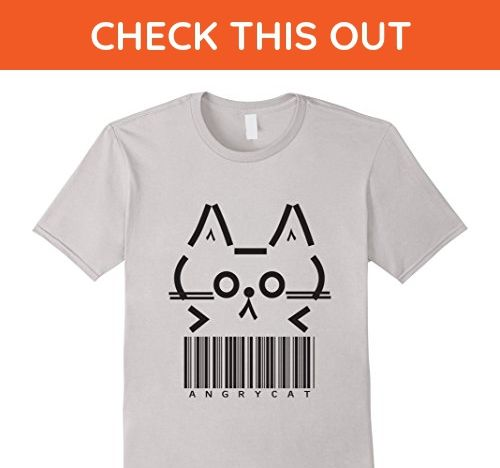 Mens Fun Graphic Tee of the Adventures of Angry Cat with Barcode 3XL Silver - Animal shirts (*Amazon Partner-Link)