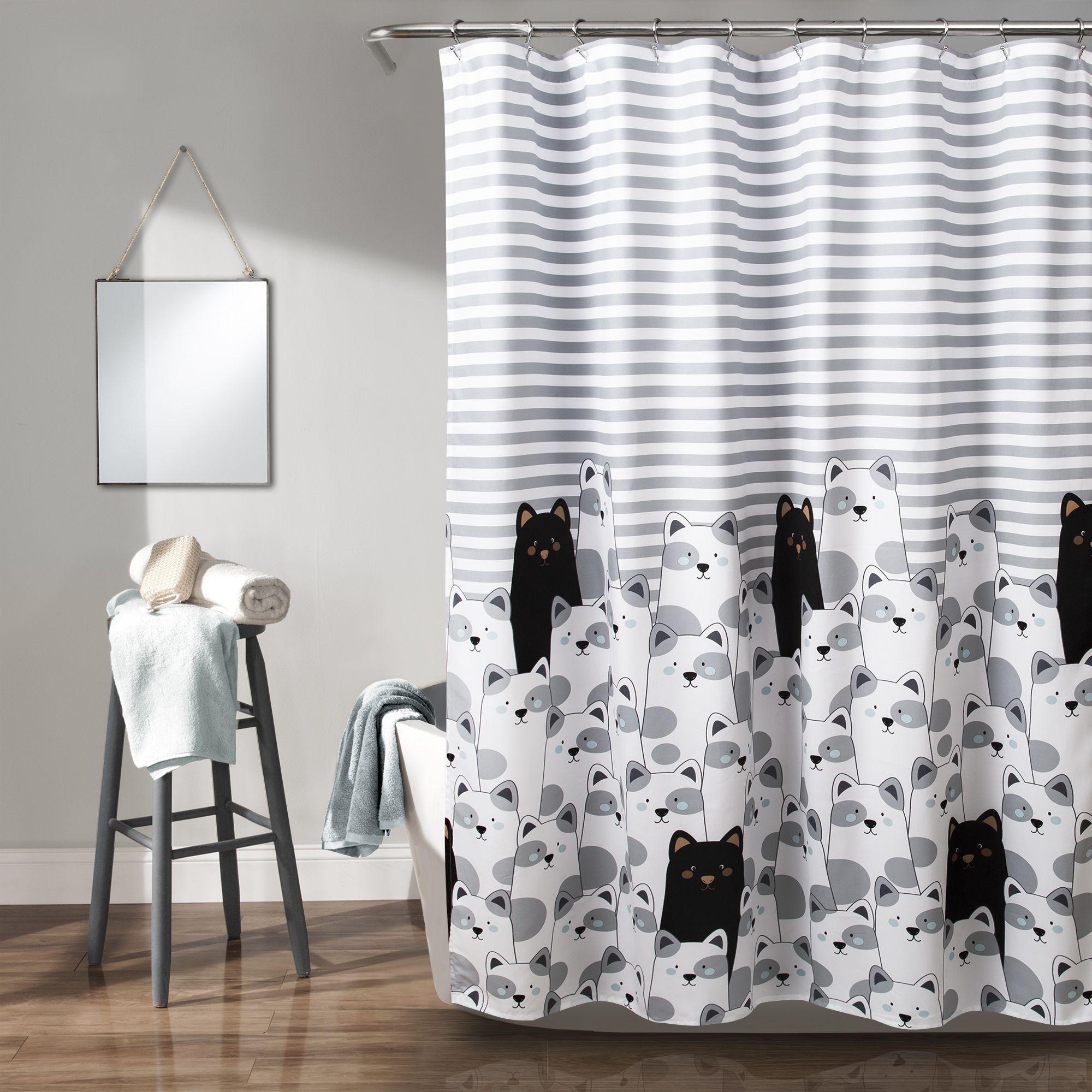 Stripe Bear Shower Curtain Lush Decor Striped Shower Curtains