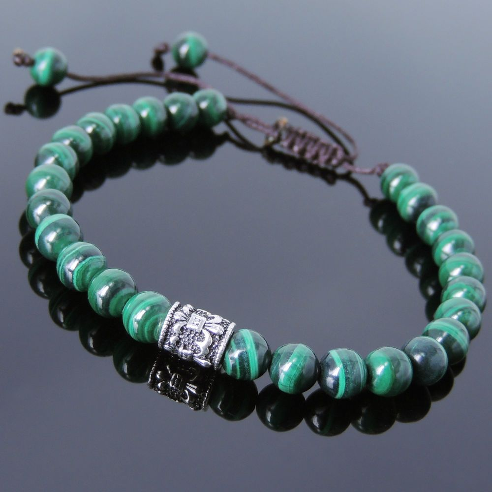 Men women bracelet braided malachite sterling silver fleur de lis