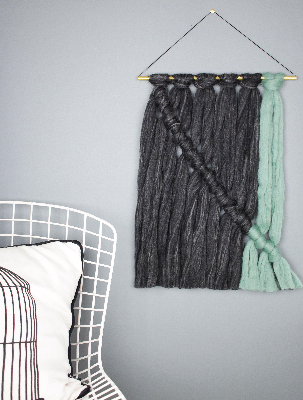 Minimalistischer Wandbehang aus Merinowolle, Moderner Wandteppich ...