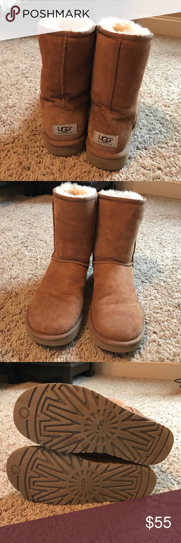 Like new Uggs! Like new classic Ugg Boots. Size 7 and are suede protected. Worn only a couple of times. UGG Shoes Winter & Rain Boots