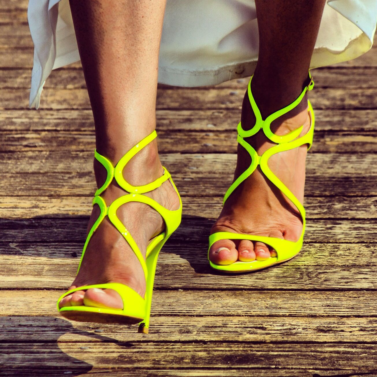 MY CHOOS for the wedding. A pop of COLOR made things untraditional.