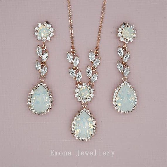 Wedding Jewelry Set Backdrop Necklace Wedding Opal Bridal Wedding
