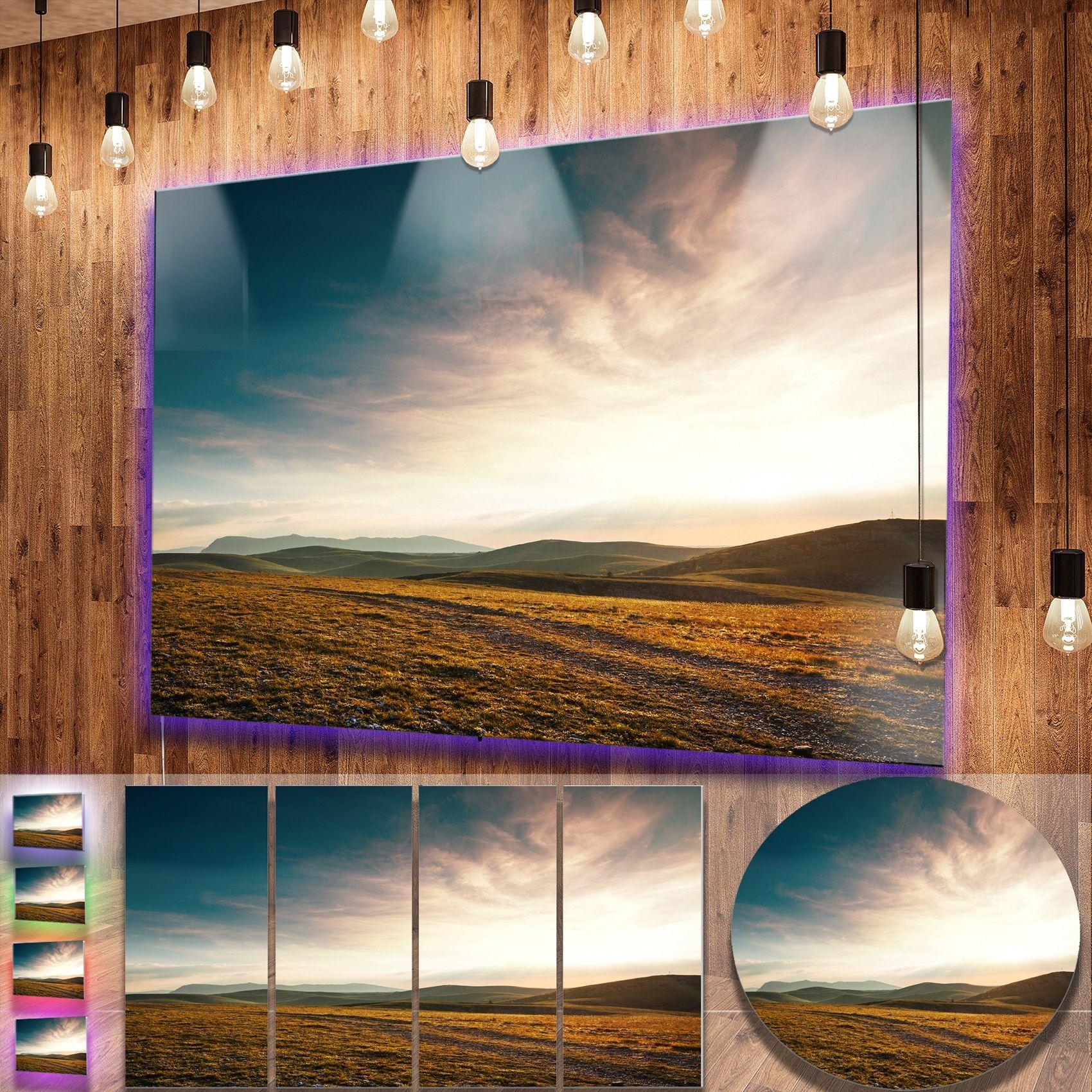 DESIGN ART Designart 'Pathway over Mountains At Sunset' Oversized Landscape Photography on Aluminium