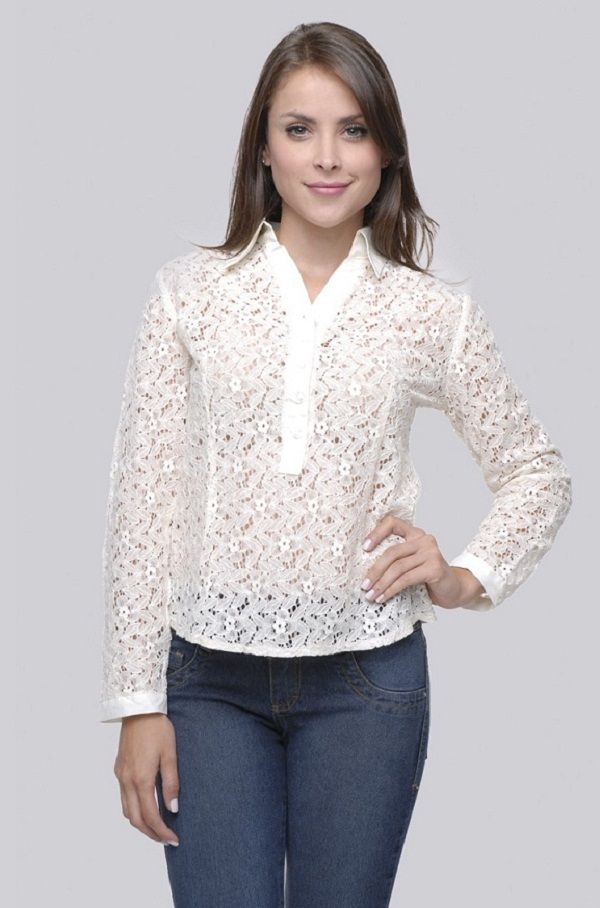 7b1561cc1 Camisas Femininas de Renda | blusinhas | Lace tops, Blouse e Fashion