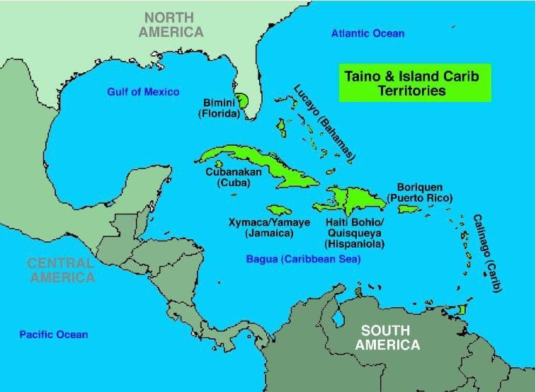 Map Of America Before Columbus.America N The Caribbean Pre Columbus Taino Migration Us Islands
