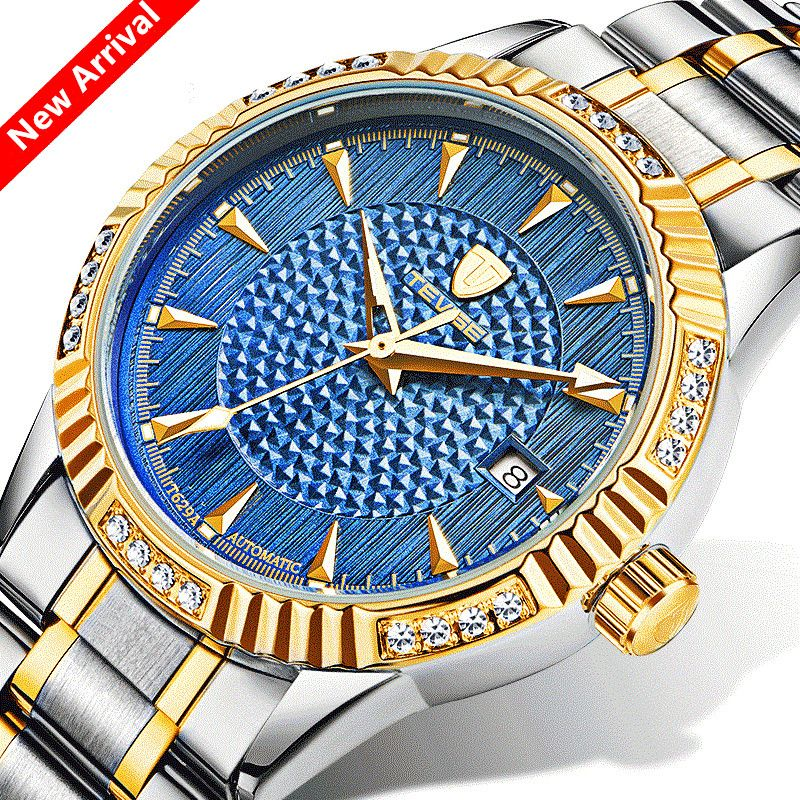 ecfeb3b7e50 Click to Buy    Bule Men Watches Luxury Brand TEVISE Automatic ...