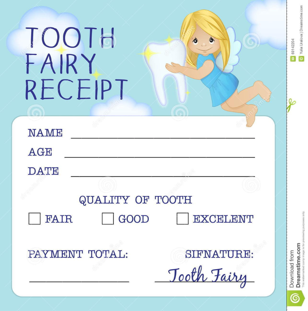 Tooth Fairy Receipt Certificate Design Stock Vector Illustration Within Tooth Fairy Certificate Template Free - 10+ Professional Templates Ideas | 10+ Professional Templates Ideas #toothfairyideas
