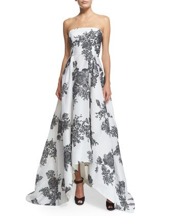 Strapless+Rose-Print+Silk+Gazar+Gown+by+Monique+Lhuillier+at+Bergdorf+Goodman.