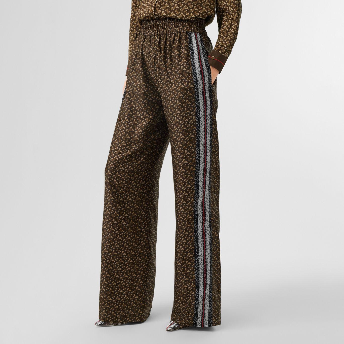 Pantalones Anchos En Seda Con Estampado De Rayas Y Monogramas Marron Ecuestre Mujer Burberry Monograma Pantalones Burberry
