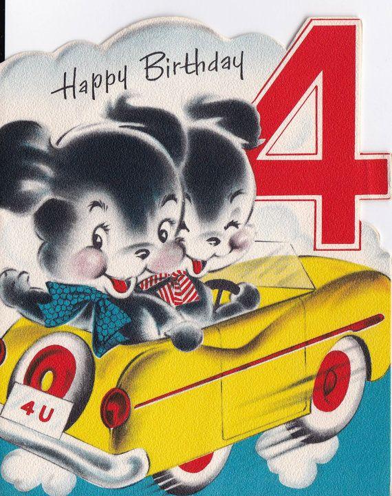 Vintage 1960s Happy Birthday 4 Year Old By Poshtottydesignz
