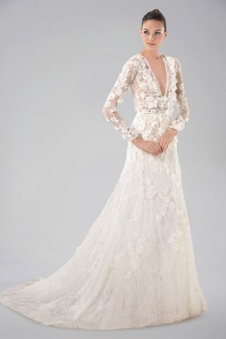 Breezy V Neckline Long Sleeve Wedding Gown With Lace Overlay And Liques