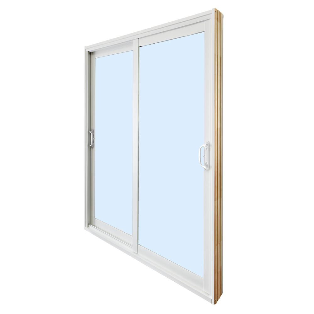 Stanley Doors 60 In X 80 In Double Sliding Patio Door Clear Low E White In 2020 Double Glass Doors Double Sliding Patio Doors Vinyl Patio Doors