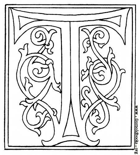 Clipart Initial Letter T From Late 15th Century Printed Book Illuminated Letters Lettering Alphabet Fancy Letters