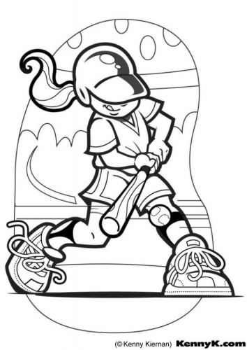 Softball Coloring Page Baseball Coloring Pages Sports Coloring