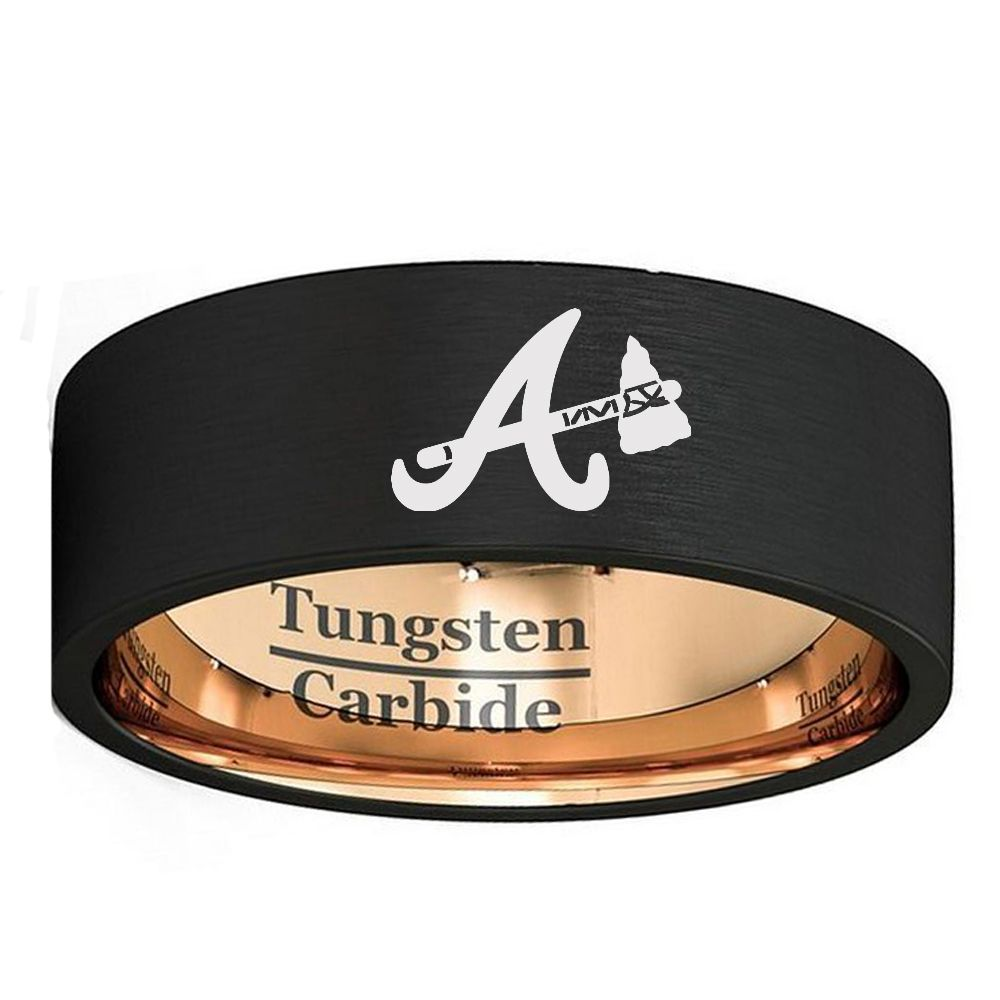 Click To Buy Custom Laser Engraved Atlanta Braves Logo 8mm Black Rose Gold Color Flat With Images Atlanta Braves Ring Brushed Tungsten Wedding Band Atlanta Braves