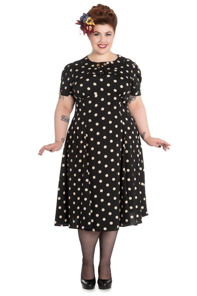 50\'s Retro Vintage Sweet Office Lady Black Mod Polka Dot ...