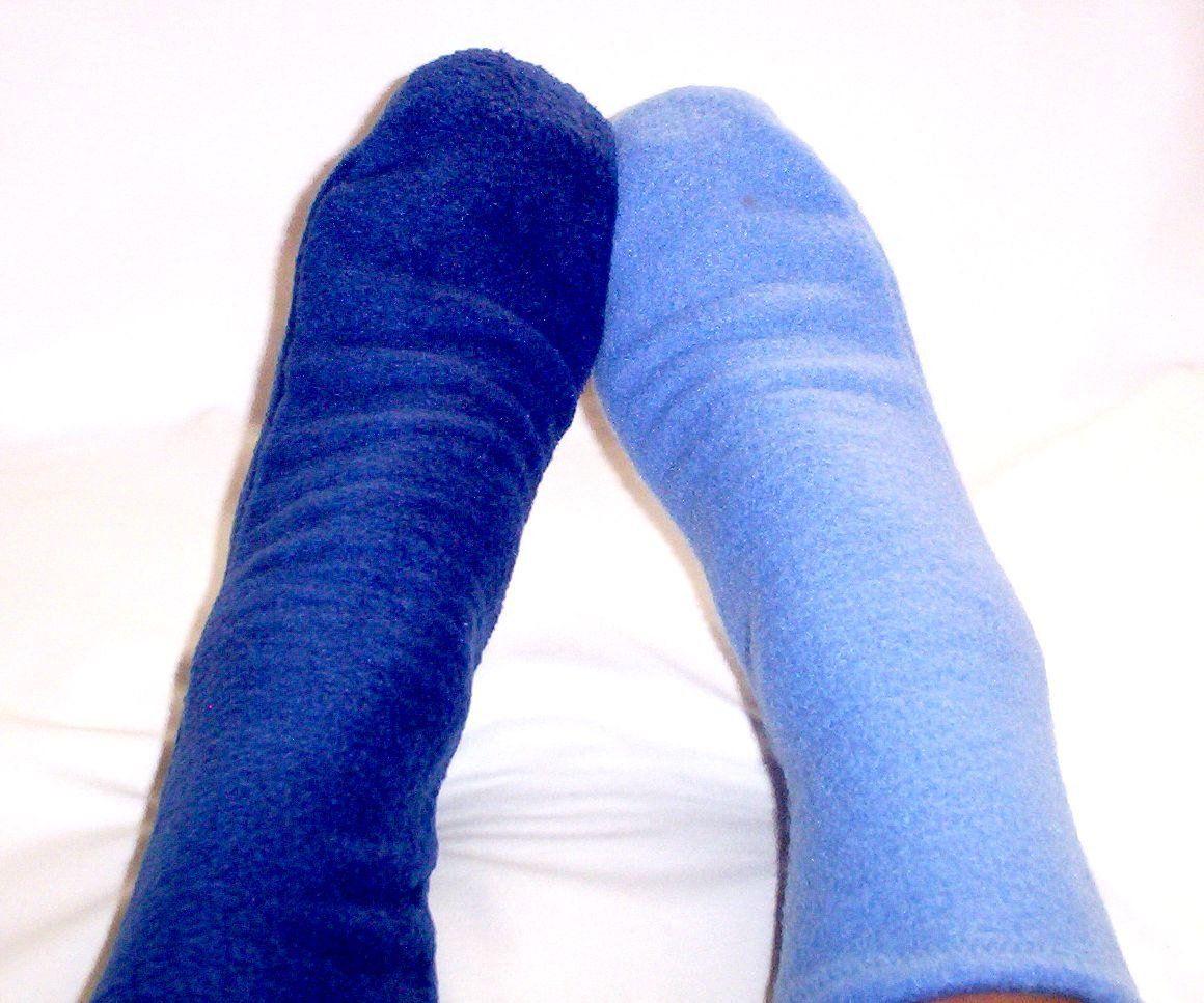 Women's warm fleece socks, blue, black socks (With images