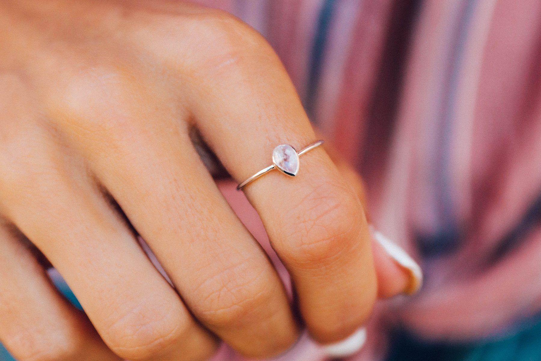 Teardrop Moonstone Ring