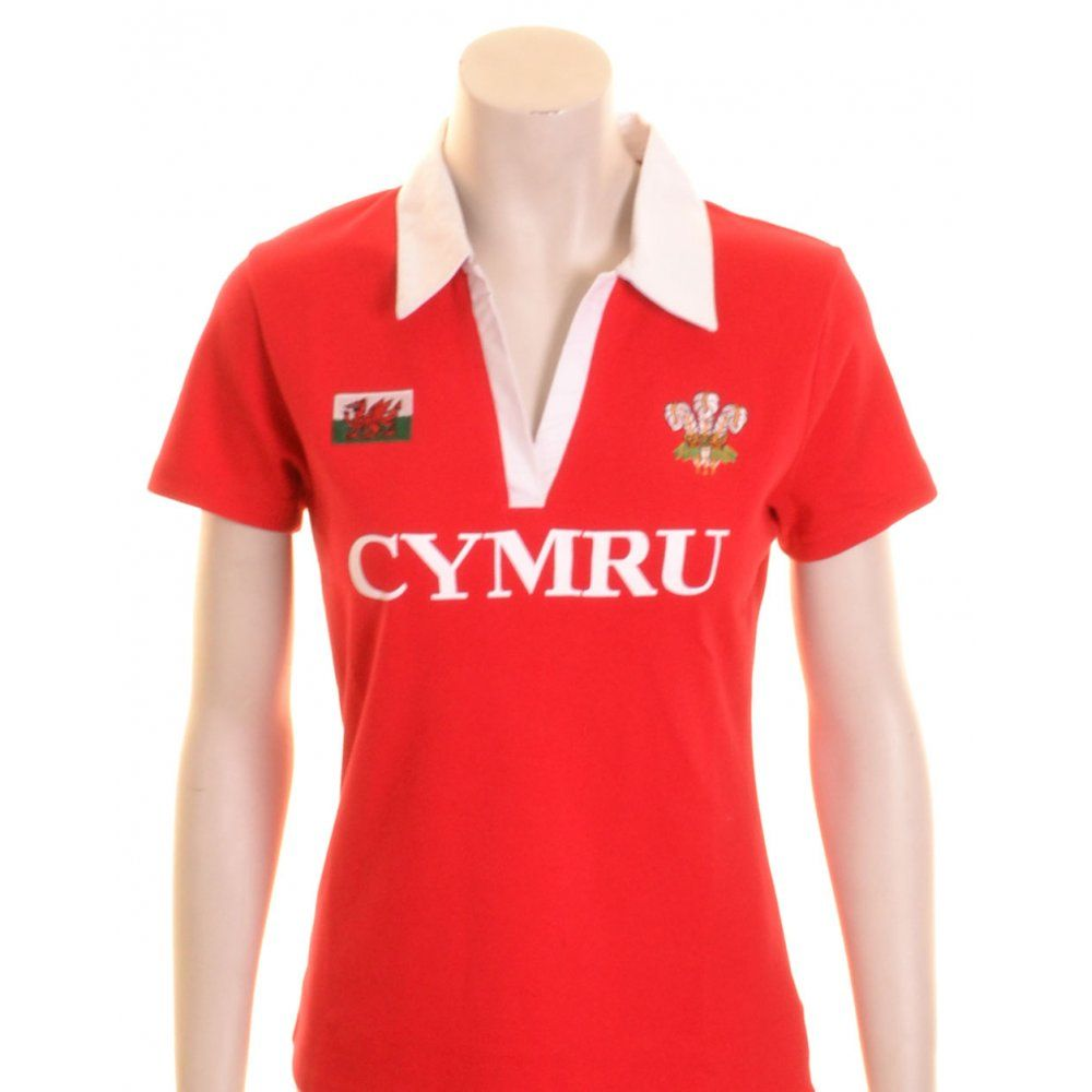 Manav Womens Wales Rugby Shirt Short Sleeve Cotton Red and White - £18.00  at ShopRugby