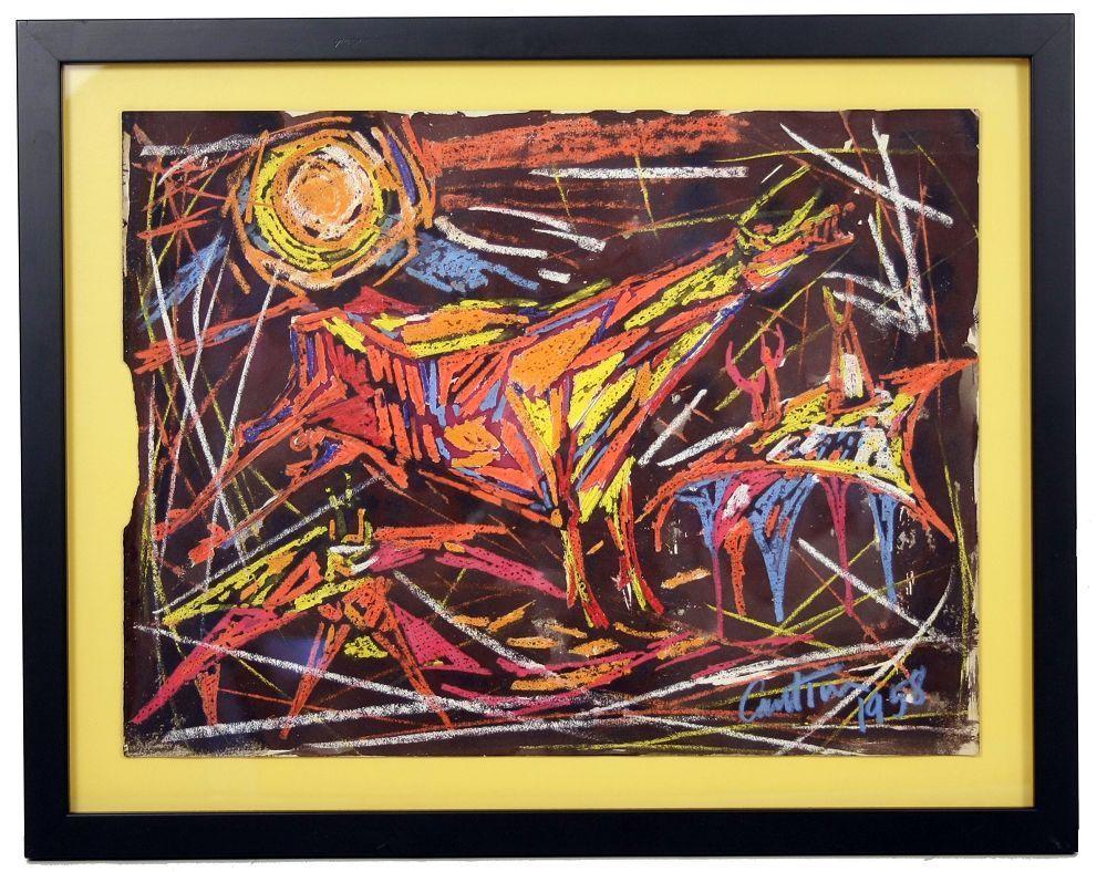 Virgil Cantini Bull Cray-paz. Signed, 1968, Framed